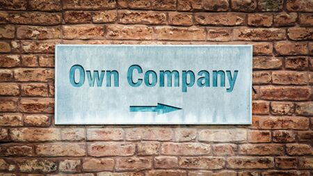Street Sign the Direction Way to Own Company 写真素材