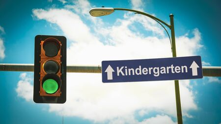 Street Sign the Direction Way to Kindergarten