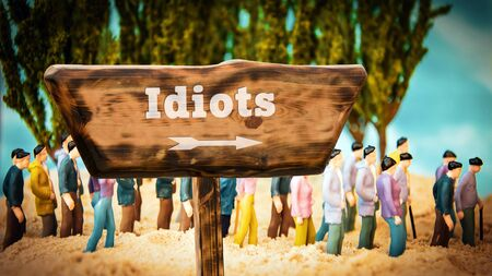 Street Sign the Direction Way to Idiots 스톡 콘텐츠 - 131828449