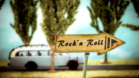 Street Sign the Direction Way to Rockn Roll Stok Fotoğraf