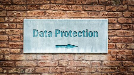 Street Sign the Direction Way to DATA PROTECTION Stock Photo