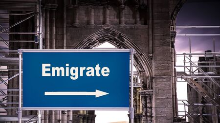 Street Sign the Direction Way to Emigrate Stok Fotoğraf
