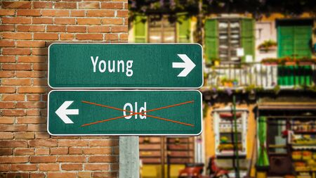 Street Sign the Direction Way to Young versus Old