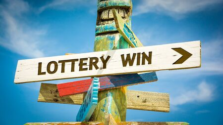 Street Sign the Direction Way to Lottery Win Stok Fotoğraf