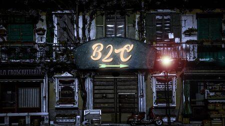 Street Sign the Direction Way to B2C Zdjęcie Seryjne