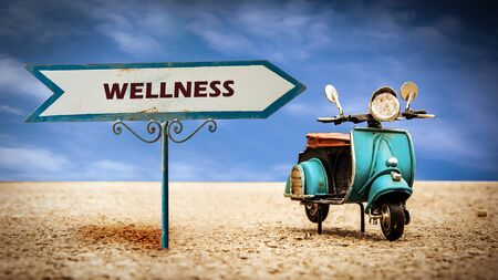 Street Sign the Direction Way to Wellness