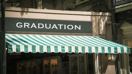 Street Sign the Direction Way to Graduation Zdjęcie Seryjne