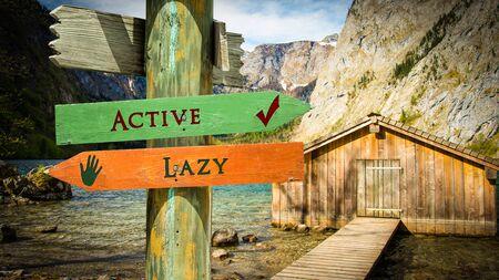 Street Sign the Direction Way to Active versus Lazy Zdjęcie Seryjne