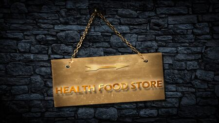 Street Sign the Direction Way to HEALTH FOOD STORE Imagens