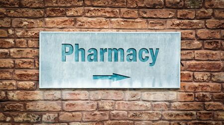 Street Sign the Direction Way to Pharmacy