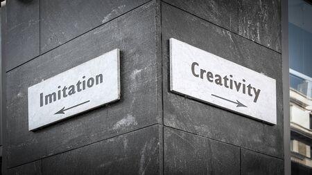 Street Sign the Direction Way to Creativity versus Imitation