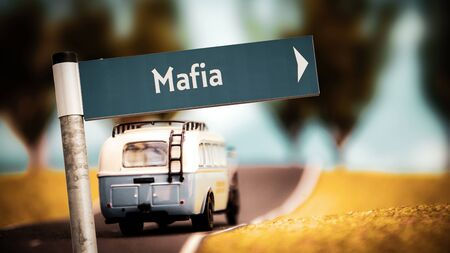 Street Sign the Direction Way to Mafia Imagens
