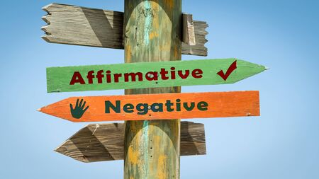 Street Sign theDirection Way to Affirmative versus Negative Stock Photo
