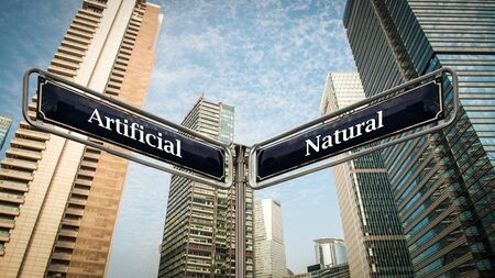 Street Sign the Direction Way to Artificial versus Natural 스톡 콘텐츠 - 133054120