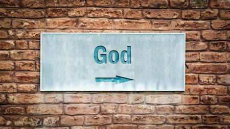 Street Sign the Direction Way to God Standard-Bild