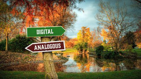 Street Sign the Direction Way to Digital versus Analogous Imagens