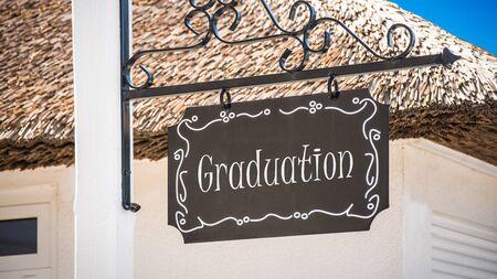 Street Sign the Direction Way to Graduation Stock fotó