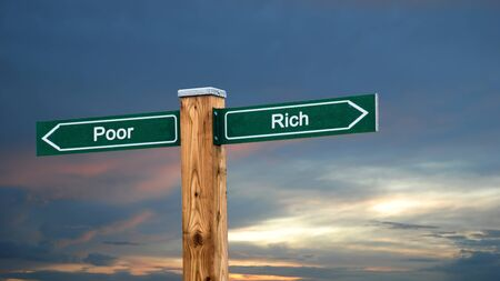 Street Sign the Direction Way to Rich versus Poor