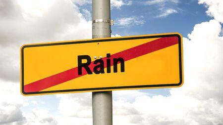 Street Sign the Direction Way to Sun versus Rain Standard-Bild - 133693001