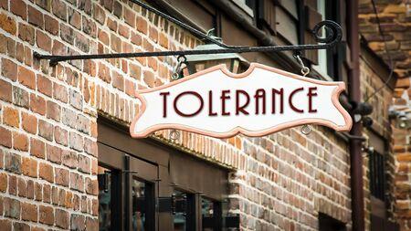 Segnale stradale la direzione verso la tolleranza