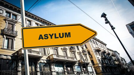 Street Sign the Direction Way to Asylum Imagens