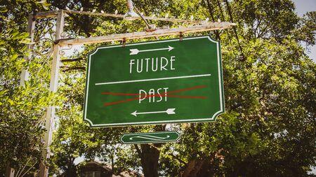 Street Sign the Direction Way to Future versus Past Foto de archivo