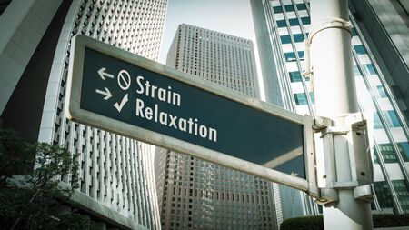 Street Sign the Direction Way to Relaxation versus Strain Фото со стока - 134566108
