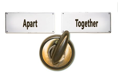 Street Sign the Direction Way to Together versus Apart Stock Photo