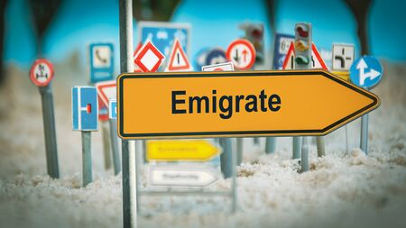 Street Sign the Direction Way to Emigrate Stock fotó