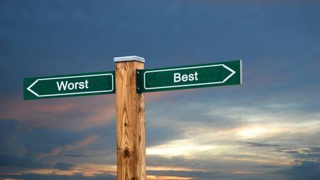 Street Sign the Direction Way to Best versus Worst Stock fotó