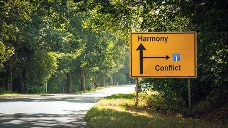 Street the Direction Way to Harmony versus Conflict Stock fotó