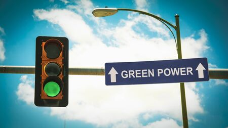 Street Sign the Direction Way to Green Power Stok Fotoğraf