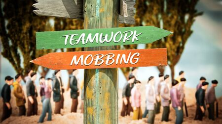 Street Sign the Direction Way to Teamwork versus Mobbing Stok Fotoğraf