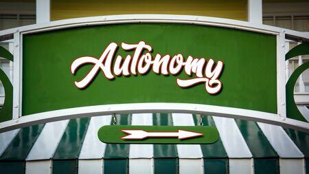 Street Sign the Direction Way to Autonomy Stock fotó