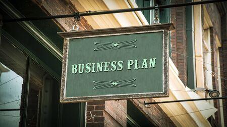 Street Sign the Direction Way to Business Plan 版權商用圖片