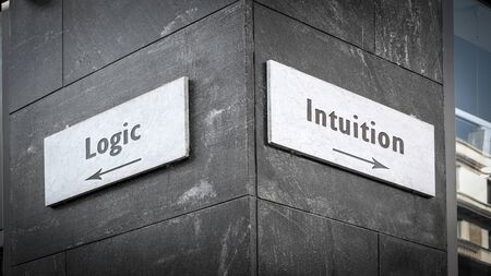 Street Sign the Direction Way to Intuition versus Logic
