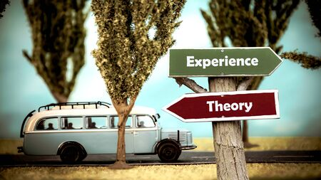 Street Sign the Direction Way to Experience versus Theory Stock fotó