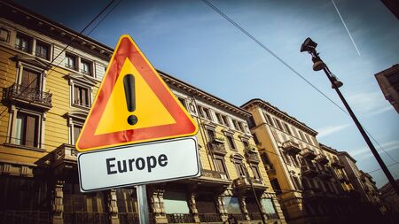 Street Sign the Direction Way to Europe