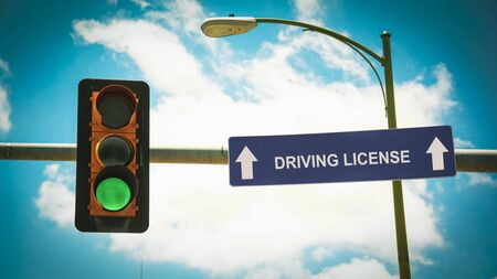 Street Sign the Direction Way to DRIVING LICENSE