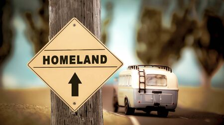 Street Sign the Direction Way to Homeland Stock Photo - 137051352