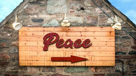 Street Sign the Direction Way to Peace 版權商用圖片