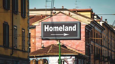 Street Sign the Direction Way to Homeland Stock Photo - 137245398