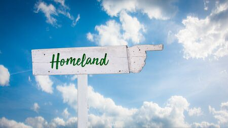 Street Sign the Direction Way to Homeland Stock Photo - 137438667