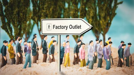 Street Sign the Direction Way to FACTORY OUTLET Stock Photo