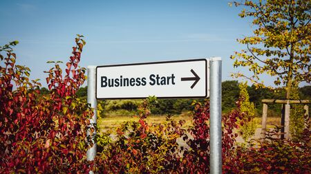 Street Sign the Direction Way to BUSINESS START