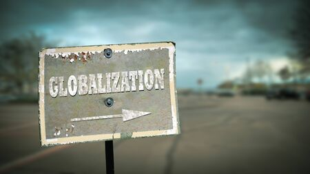 Street Sign the Direction Way to Globalization Imagens