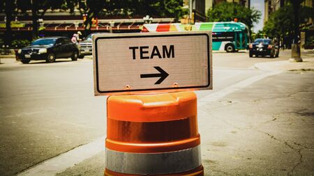 Street Sign the Direction Way to Team