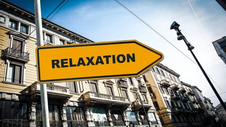 Street Sign the Direction Way to Relaxation 스톡 콘텐츠