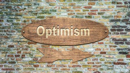 Segnale stradale la direzione verso l'ottimismo