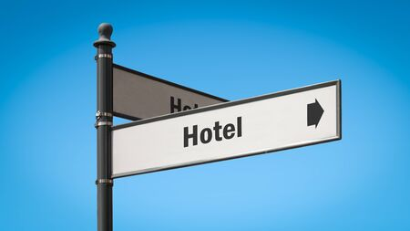 Street Sign the Direction Way to Hotel